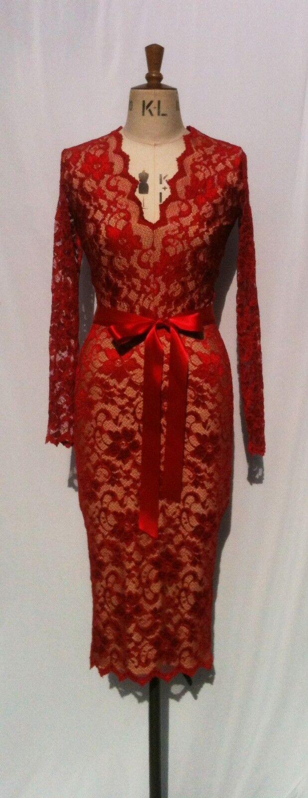 Baylis & Knight Red Nude Low Cut LACE Wiggle Knee Pencil Dress Dita Burlesque