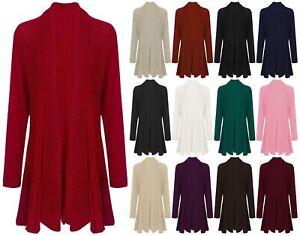 071ea1dd7576c New Ladies Long Sleeve Crochet Knitted Waterfall Open Women Cardigan ...