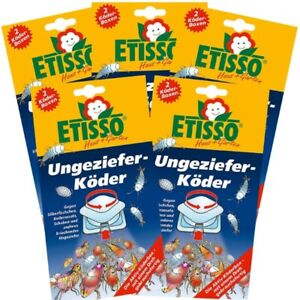Etisso Ungeziefer-Köder 5er Sparpack Köderboxen gegen Silberfischchen Schaben