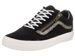 aff5ae6ebdc VANS Old Skool Zip (Suede) Black Gold dots Skate Shoes WOMEN S 7.5 ...