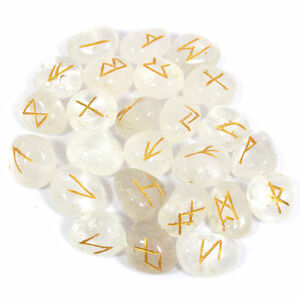 Clear Quartz Runes Set for reiki healing with stylish pouch crystal rune set