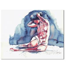 Original weiblicher Akt Aquarell Bild Gemälde Kunst Malerei Painting by B. IVKOV