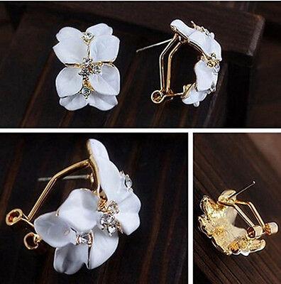Fashion Women Gardenia Flower Crystal Ear Studs Rhinestone Earrings Hoop Buckle