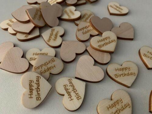 50 Streudeko Holz Herz Tischdeko HAPPY BIRTHDAY Geburtstag Deko 2 cm
