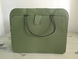 LAPTOP BAG - Briefcase, Green, Faux Leather, Handles, Pockets, and Pencil Holder