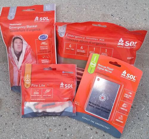 couverture Sol Emergency Survival objets Lot de 4: Signal Miroir Abri FIRE KIT