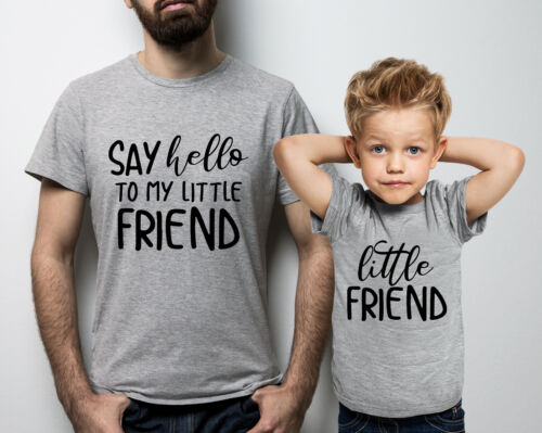 Say hello to my little friend Father and child sport grey t-shirts set.