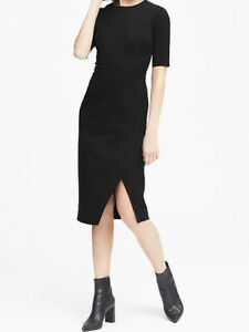NWT-Banana-Republic-129-Women-Bi-Stretch-Short-Sleeve-Sheath-Dress-00P-0P-4P