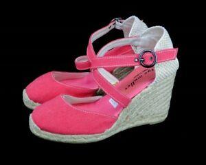 7843b846598 Details about Bettye Muller Katy Bis Espadrille Wedge Sandals Pink Platform  Cross Straps 38/8M