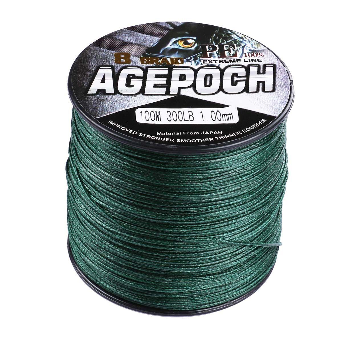 Agepoch 100M-2000M Moss Green 6LB-300LB 100% pe Dyneema Braided Sea Fishing Line