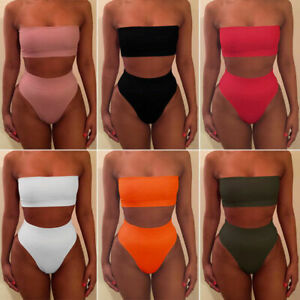 Women-039-s-High-Waisted-Bikini-Set-Strapless-Bandeau-Swimwear-Swimsuit-Bathing-Suit