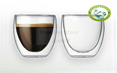 260ml/9.1oz Clear Double Wall Glass Tea / Coffee Cups Glasses  S08