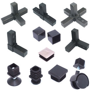 Details about Square Aluminium Steel Tube / Pipe Metal Box Section Plastic  End Caps Fittings