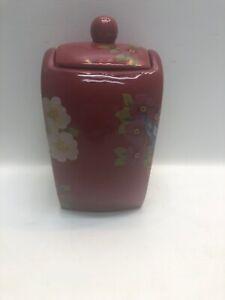 Ceramic-Canister-Songbird-Garden-Rosie-B-Farmer-Red-Floral-Songbird-w-Lid-B1