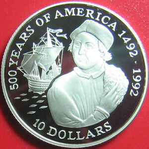 1990-COOK-ISLANDS-10-SILVER-PROOF-COLUMBUS-SHIP-500-YEARS-OF-AMERICA-KM-121