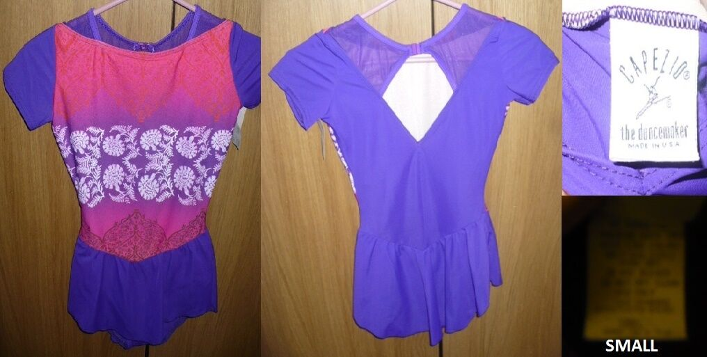 Capezio Ice Skating Dress viola & rosa flowers Girls 12 14 or AS