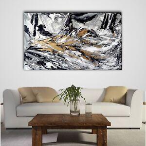 QUADRO ASTRATTO MODERNO 130x75 CM bianco e nero dipinto a mano opera ...