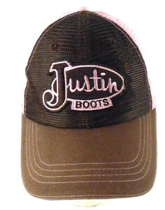 ab43ca3d0 Details about Justin Boots Brown Pink Mesh Trucker Strapback Cap Hat