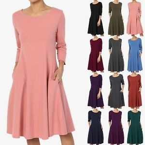 TheMogan S~3X Womens Short Sleeve Stretch Cotton Pocket A-line Fit /& Flare Dress