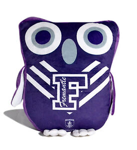 LARGE Licensed AFL Fremantle Dockers Freo OWL Cushion Pillow Teddy Girls Boys