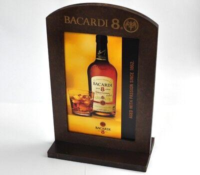 """Cooler Bacardi /""""8/"""" Rum USA Holz Tischaufsteller Menü Halter Fotorahmen"""