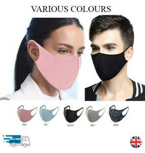 Reusable And Washable Face Mask Various Colours Protection Masks Uk Ebay