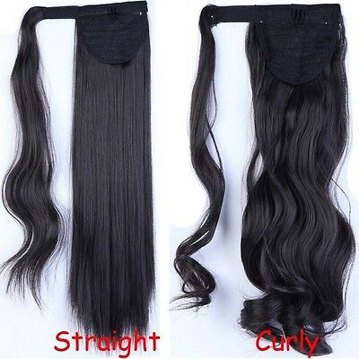 PONYTAIL Hair Extension. STRAIGHT, CURLY, Wrap Around, Like REAL HUMAN Hair AAC