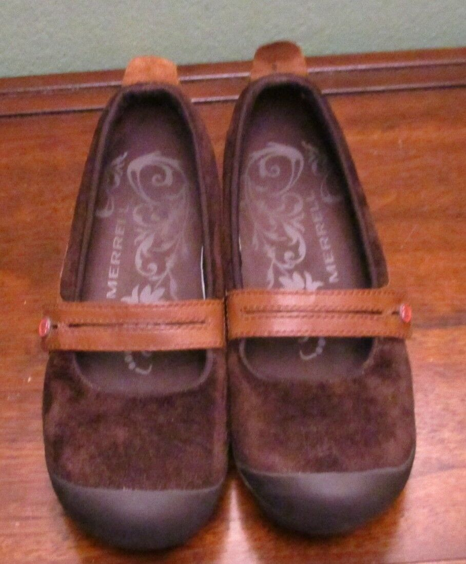 Women's MERRELL Mary Jane Brown Suede Slip On Shoes -Size 7.5/Eur 38