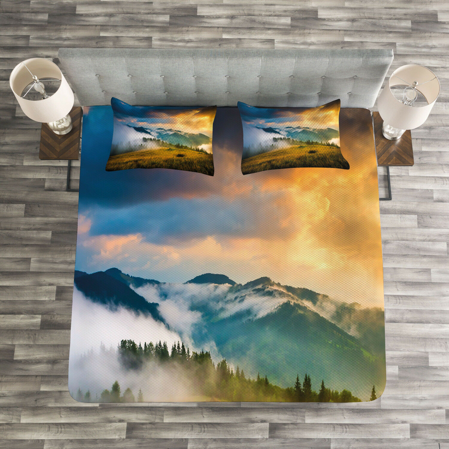 Landscape Quilted Bedspread & Pillow Shams Set, Misty Mountaintops Print