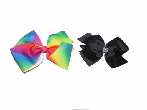 HAIR BOWS DIAMANTE BEAUTIFUL LARGE GIRLS RAINBOW AND BLACK CRYSTAL HAIR BOW