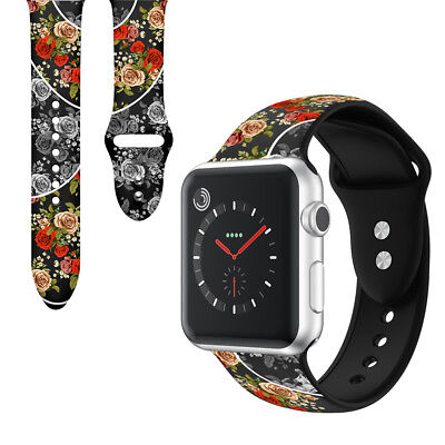 Floral Pattern Silicone Watch Band Strap for Apple Watch iWatch Series 4/3/2/1