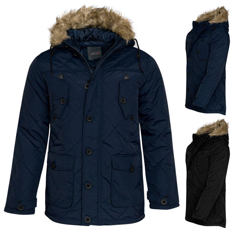Cappotto da Uomo con Faux Cerniera Pelliccia Inverno Faux con Giacca  Trapuntata Con Cappuccio Rim Designer 084f8d17207