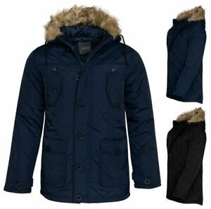 Mens-Coat-Zipped-Fur-Winter-Faux-Jacket-rim-Quilted-Hooded-Designer-Parka-UKS-XL