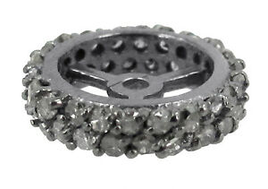 New-Diamond-Pave-Rondelle-Finding-925-Sterling-Silver-Wheel-Spacer-Jewelry-12-MM