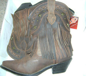 Dingo-Boho-Brown-Distressed-Leather-Fringe-Studs-Western-Cowgirl-Boots-7-5