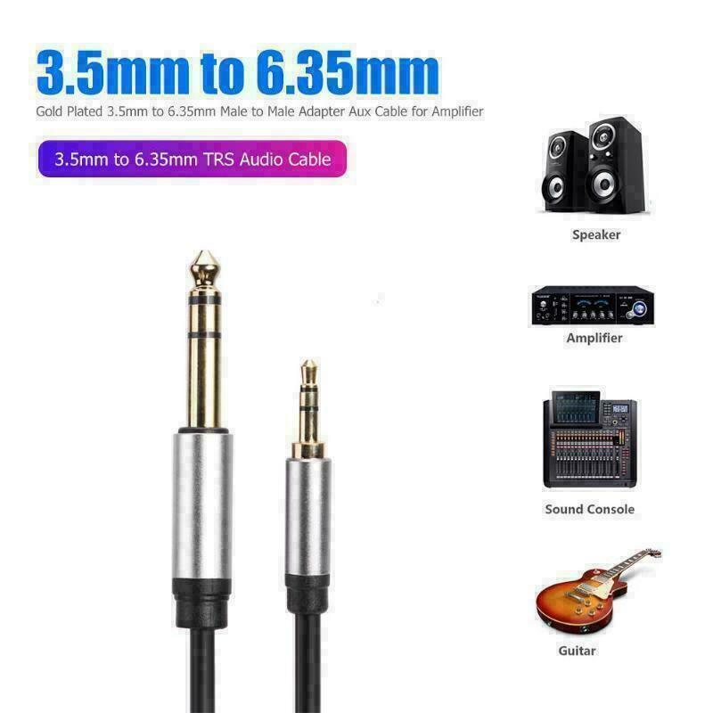 "Audio aux 6.35mm 1//4/"" female to 3.5mm 1//8/"" male stereo headphone adapter cabl XJ"