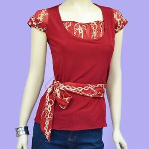 NWT-Red-Short-Sleeve-Polyester-Lycra-Pullover-Ladies-Shirt-Top-Blouse-XS-S-M-L