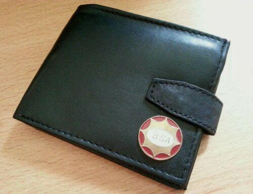bsa motorcycle wallet genuine leather bi-fold uk seller motorbike black clasp