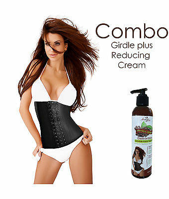 COLOMBIAN CLASSIC LATEX GIRDLE SPORT WAIST AND CAFFEINE CREAM BY ANN SLIM COMBO