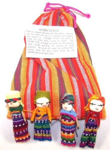 Worry Dolls In A Pouch Textile Bag Set 4 Made In Guatemala Children Doll