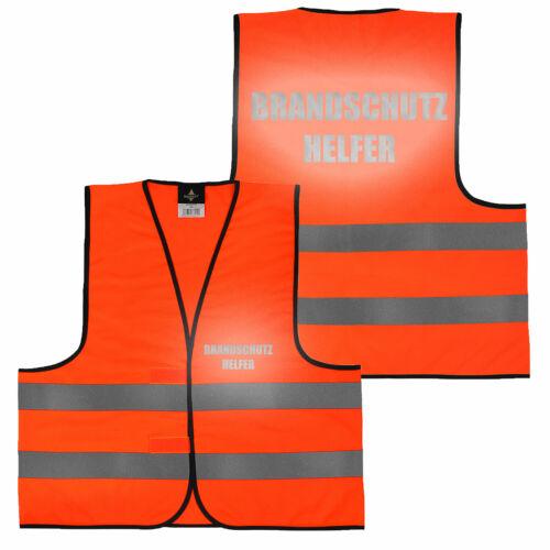 Warnweste Gelb Orange beidseitig bedruckt Reflex auf Brust und Rücken Aufdrucke