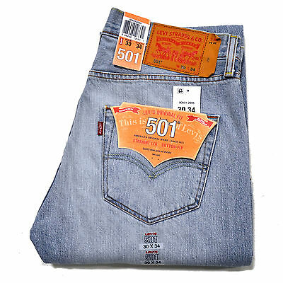 Levis 501 Jeans Mens Button Fly Straight Leg Original 29 30 31 32 33 34 36 38 40