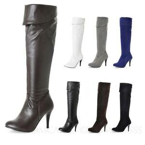 Leather-Shoes-Thigh-length-Womens-High-Heel-Boots-Ladies-Party-plus-size-5-16