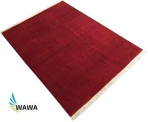 Handgeknuepft-200X300-CM-Rot-Teppich-100-Wolle-Handarbeit-Gute-Qualitaet