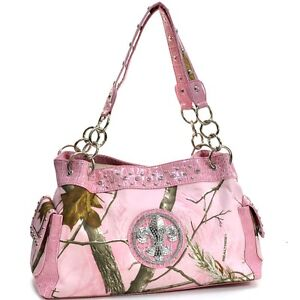 New-Realtree-Women-Handbag-Chain-Camouflage-Faux-Leather-Shoulder-Bag-Purse-Pink
