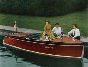 VINTAGE-ANTIQUE-ERA-CHRIS-CRAFT-COLOR-PHOTO-REPRO-CANVAS-SPEED-BOAT-ART-PRINT