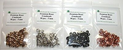 """200 Brass Fly Tying Coneheads - Assorted Colors - Small - 5MM (3/16"""")"""