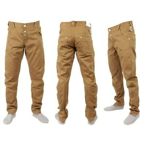 Eto Hombres Jeans Pantalones Chino Pierna Curvada Disenador Moda Pantalones Marron Tostado W28 W3 Ebay