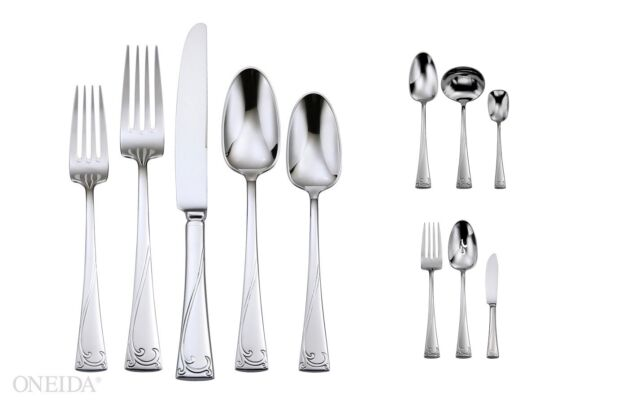 bee348e5ac407 Oneida Lyric Service for 12 - Quality 18 10 Stainless Flatware Set ...