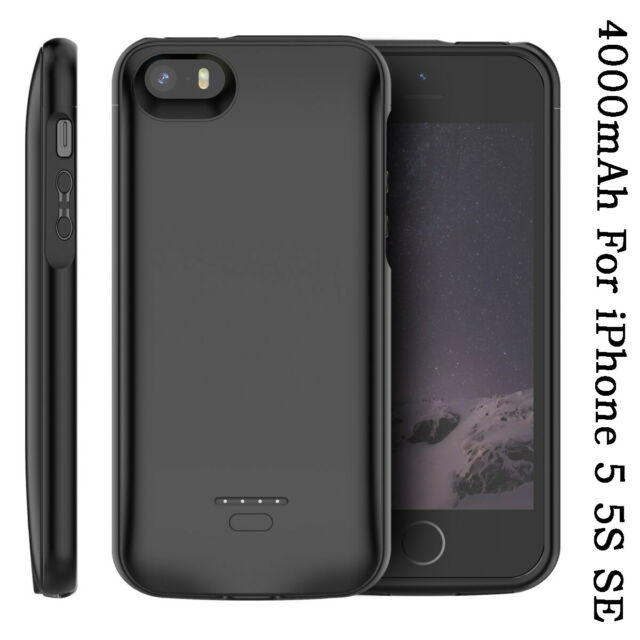 online retailer fe64b d8ffd 4000mAh External Battery Back Case Power Bank Charging Cover For iPhone SE  5 5S